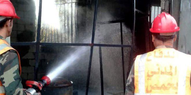 إخماد حريق بمستودع أسطوانات غاز ومحروقات في بلدة زيتا بريف حمص الجنوبي الغربي