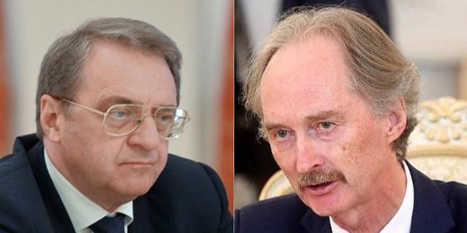 بوغدانوف وبيدرسون بحثا هاتفياً التحضيرات لعقد الجولة الخامسة للجنة مناقشة الدستور